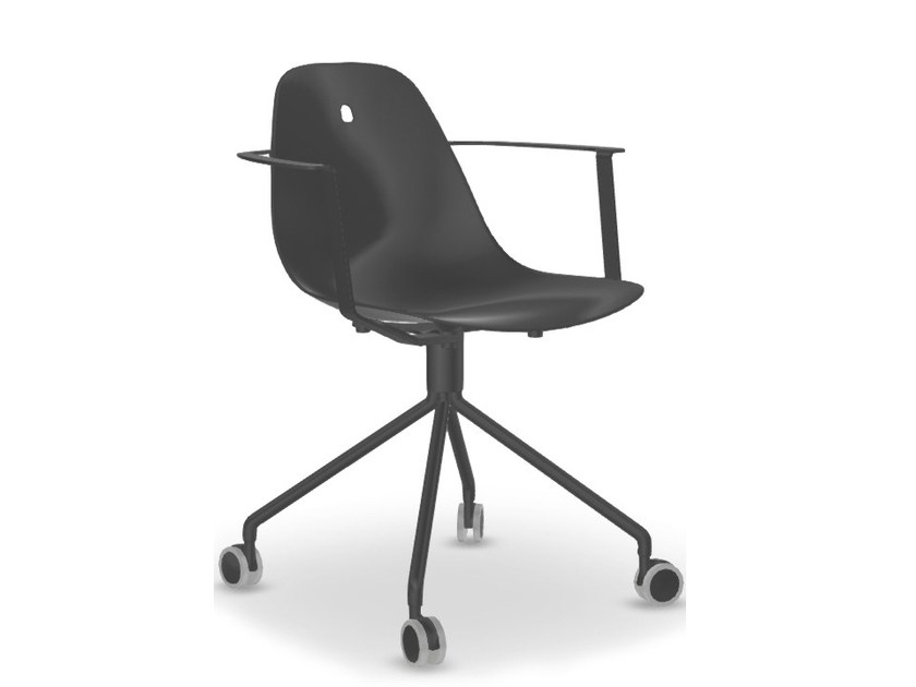 Trestle-based aluminium task chair with casters MARGUERITE | Task chair by Joli