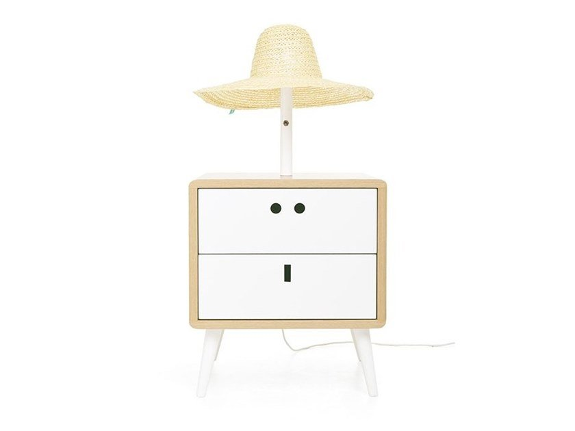 Side or bedside table with integrated lamp MARIA by DAM