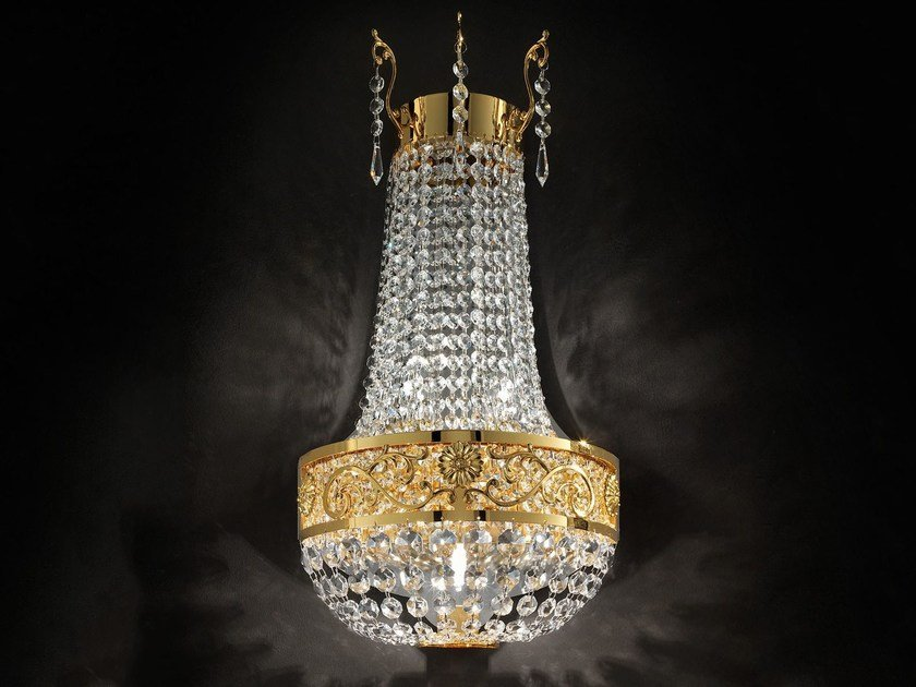 Direct light incandescent brass wall light with crystals IMPERO VE 823   Wall light by Masiero