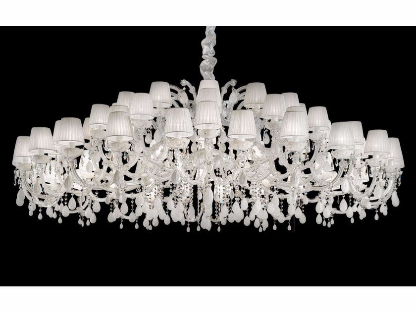 Direct light painted metal chandelier with crystals MARIA TERESA VE 982 by Masiero