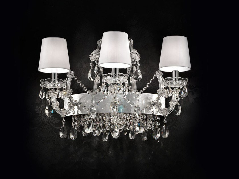 Incandescent chrome plated wall light with crystals MARIA TERESA VE 921 A3+1 by Masiero