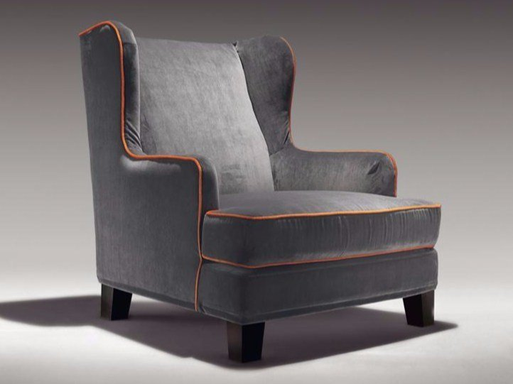 Upholstered fireside chair with armrests MARIA TERESA by Casamilano