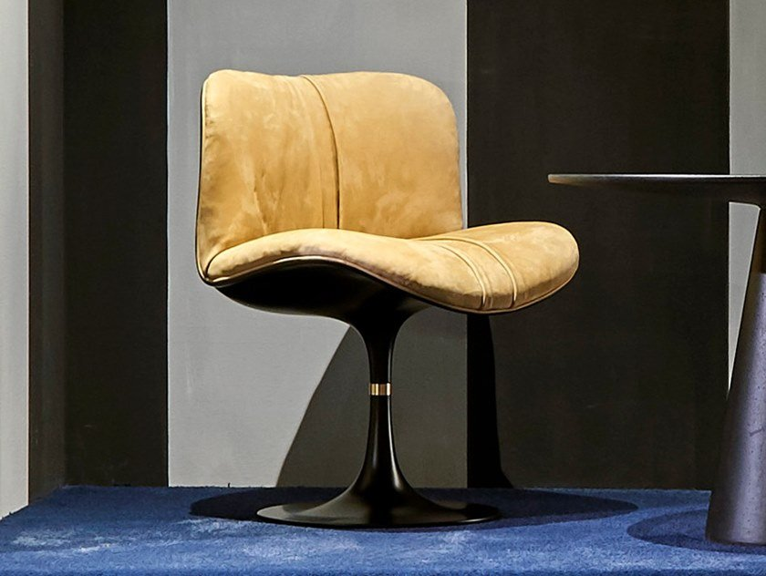 Swivel upholstered Nabuk chair MARILYN | Chair by BAXTER