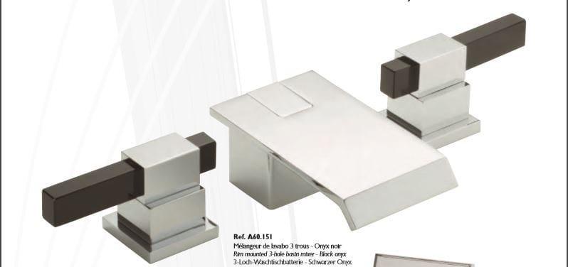 Miscelatore per bidet a 3 fori cromo in metallo in stile moderno con finitura lucida MARINA ONIX NOIR | Miscelatore per bidet by INTERCONTACT