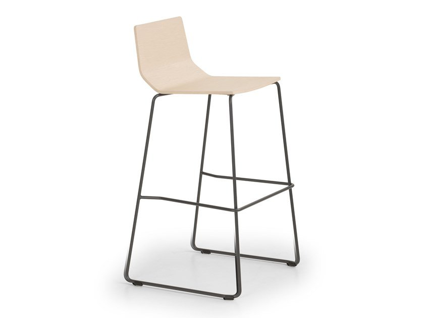 High sled base steel and wood stool MARINA | Stool by True Design