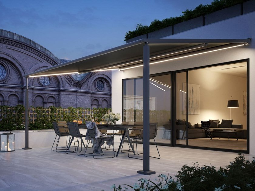 Sliding awning with guide system MARKILUX PERGOLA COMPACT by markilux