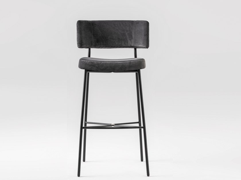 Fabric stool with back with footrest MARLEN | Stool by TrabA'