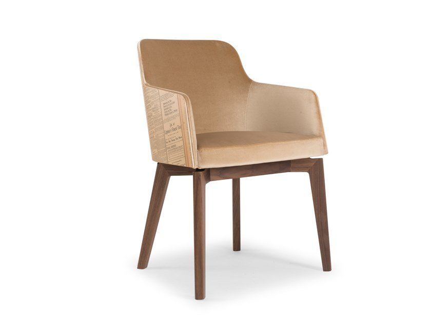Upholstered leather chair with armrests MARLENE HISTORY by Riccardo Rivoli