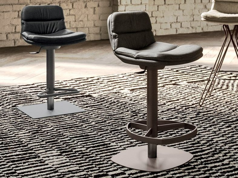 High stool in leather and metal with footrest MARLON by Ozzio Italia