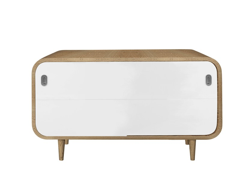 Lacquered sideboard with sliding doors MARLY PETIT   Sideboard by AZEA