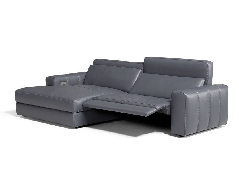 Modular recliner leather sofa with chaise longue