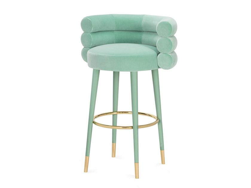 High upholstered velvet stool MARSHMALLOW | High stool by ROYAL STRANGER
