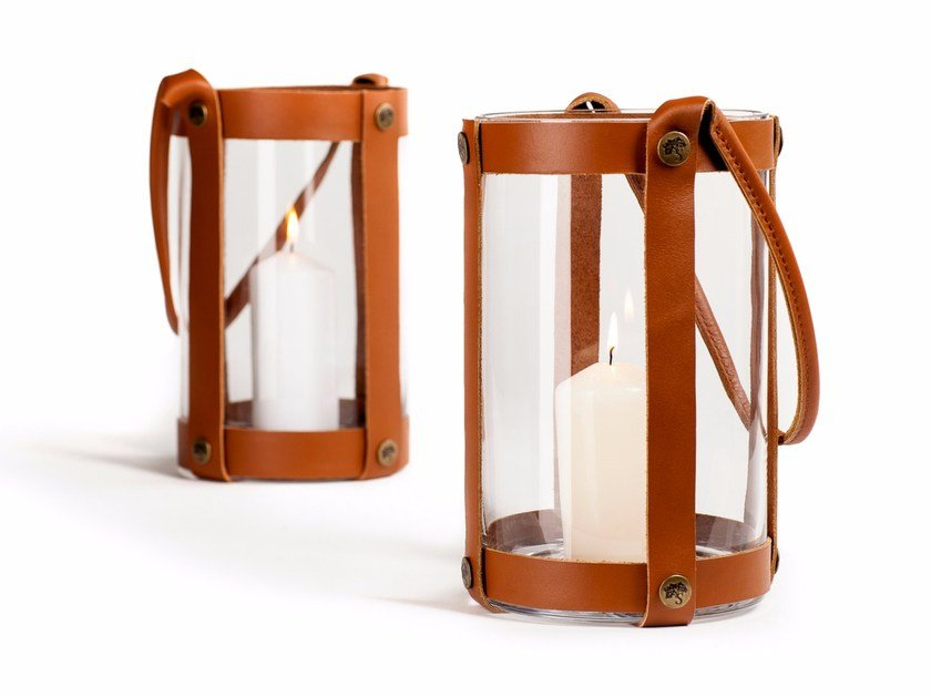 Scandinavian style leather lantern MARSTRAND by Skargaarden