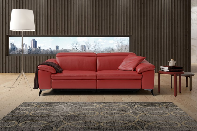 Relaxing 3 Seater Leather Sofa With Electric Motion MARTINE | Leather Sofa  By Egoitaliano