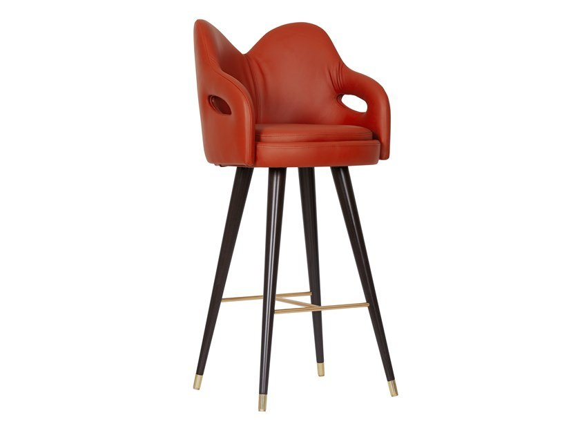 High leather stool with back MARY by Green Apple