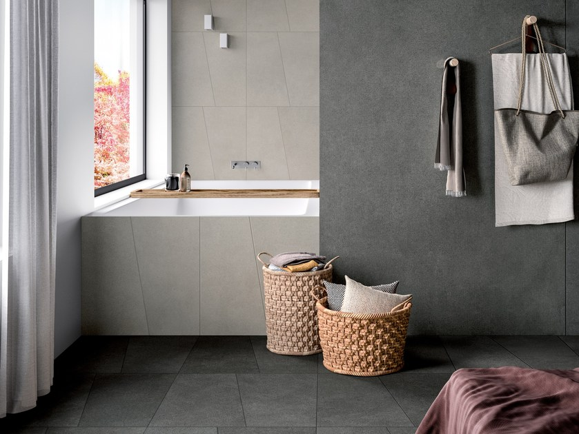 Porcelain stoneware wall/floor tiles with concrete effect MATCH FREELAB GREY by CERAMICA FONDOVALLE