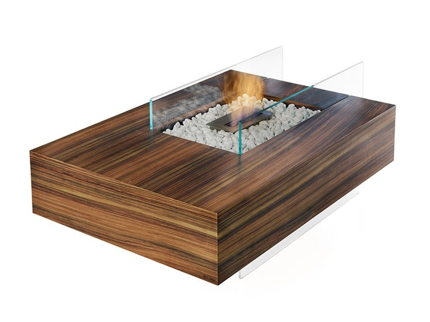 Open bioethanol wood and glass fireplace MATERIA by Disegnopiù