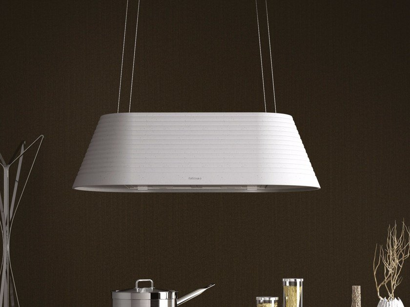 Island hood with activated carbon filters with integrated lighting MATERIA by Falmec