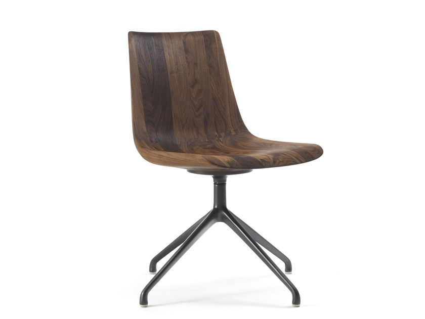 Swivel solid wood chair MATERIA MOBILE by Riva 1920