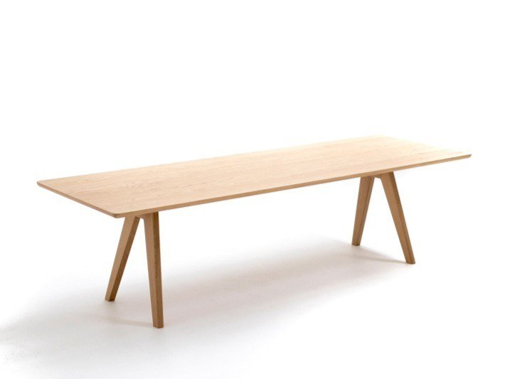 Rectangular solid wood and MDF table MATHILDA | Rectangular table by Moroso