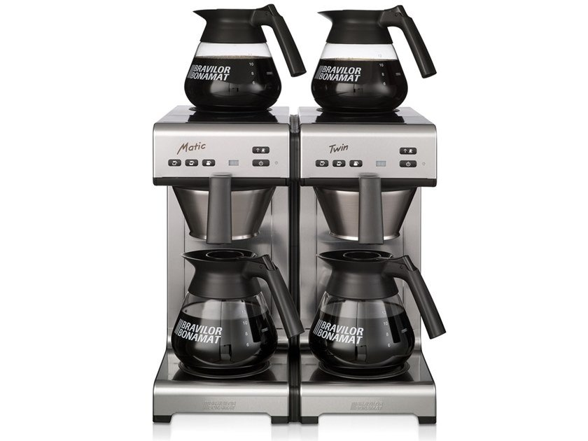 Stainless steel coffeemaker with water connection MATIC TWIN by Bravilor Bonamat