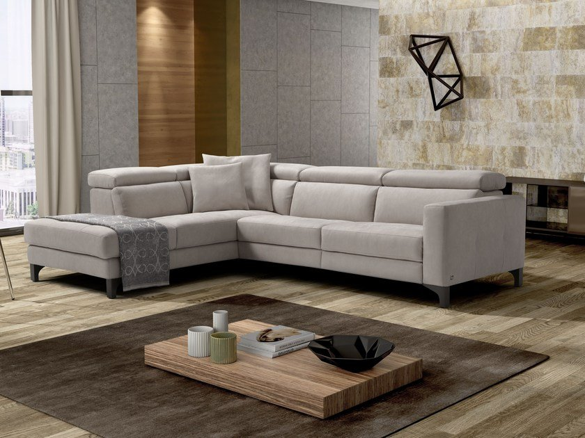 Corner leather sofa with electric motion MATT | Corner sofa by Egoitaliano