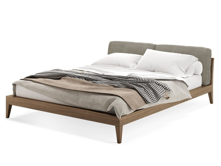 Wooden bed double bed with upholstered headboard MATTIE by PRADDY