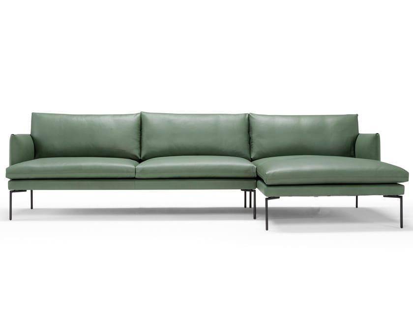 3 seater leather sofa with chaise longue MAVIS | Leather sofa by AMURA