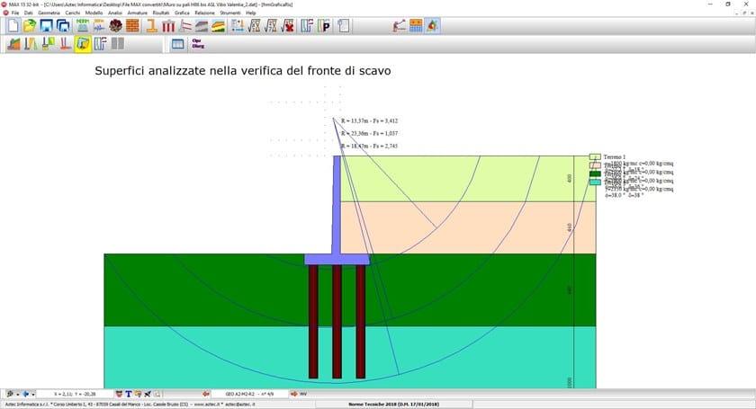 MAX Superfici analizzate nella verifica del fronte di scavo