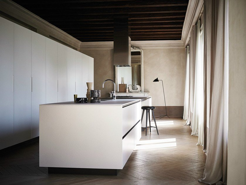 Bush-hammered stoneware kitchen with island MAXIMA 2.2 - COMPOSITION 3 by Cesar Arredamenti