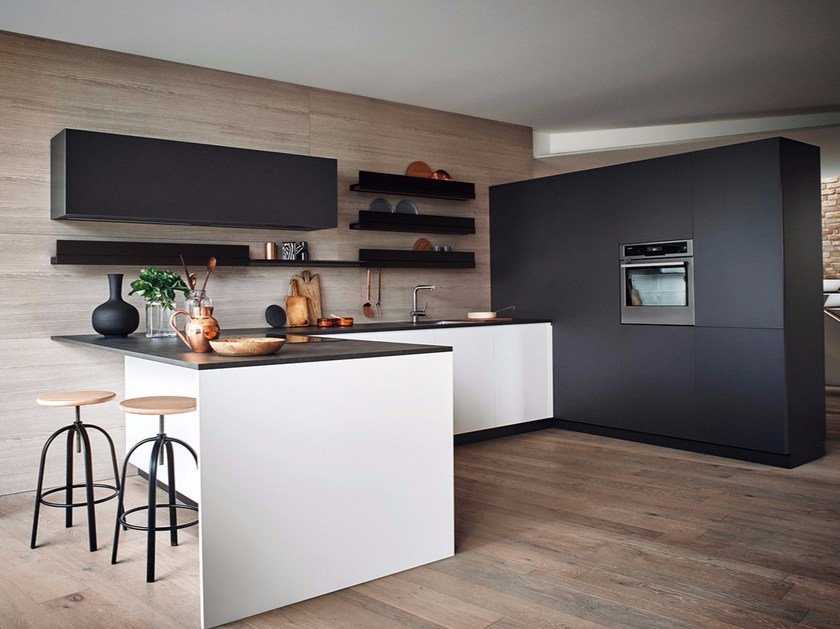 Lacquered Melamine Fitted Kitchen With Peninsula MAXIMA 2.2   COMPOSITION 8  By Cesar