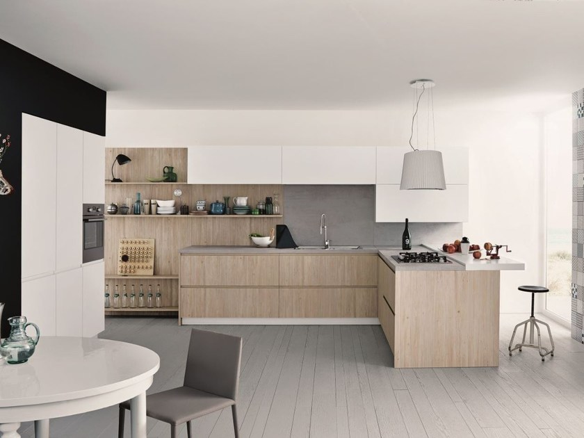Melamine fitted kitchen with peninsula MAXIMA 2.2 - COMPOSITION 6 by Cesar Arredamenti