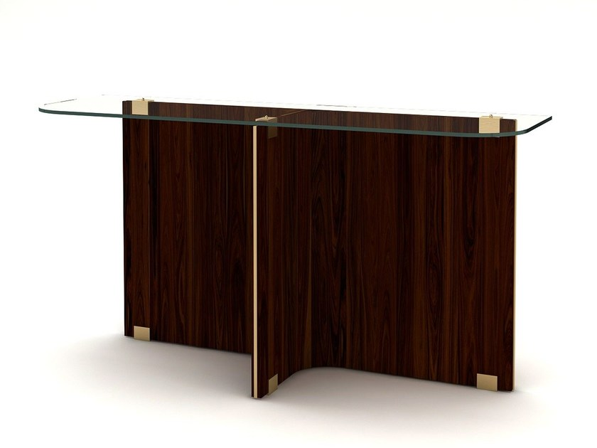Rectangular wood and glass console table MAXIME   Console table by MARIONI