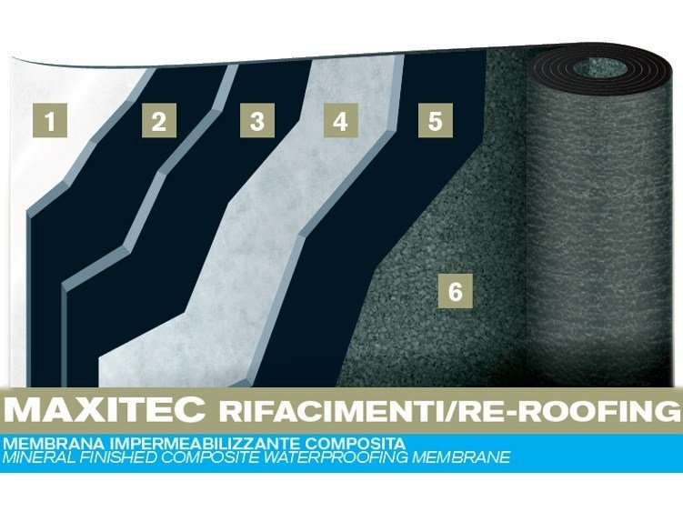 Prefabricated bituminous membrane MAXITEC RE-ROOFING by PLUVITEC