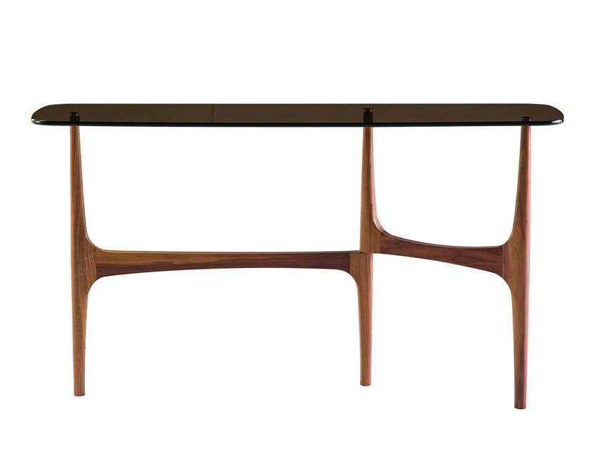 Rectangular wood and glass console table MAYA | Console table by ROCHE BOBOIS