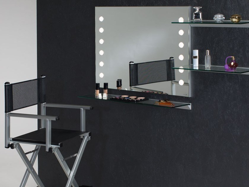 Rectangular wall-mounted Anodized aluminium mirror with integrated lighting MDE 502 by UNICA by Cantoni