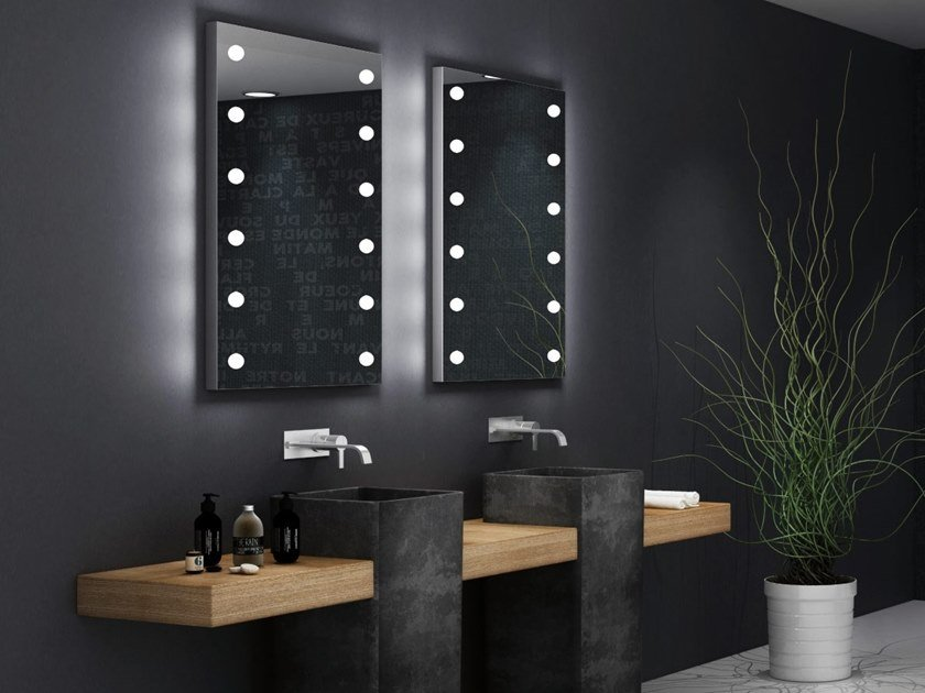 Rectangular bathroom mirror with integrated lighting MDE 505 by UNICA by Cantoni