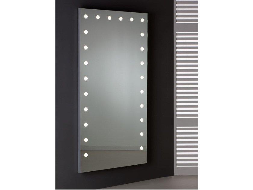 Rectangular wall-mounted Anodized aluminium mirror with integrated lighting MDE 516 by UNICA by Cantoni