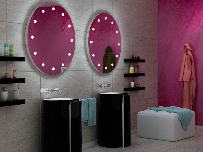 Round wall-mounted Anodized aluminium mirror with integrated lighting MDE 80 by UNICA by Cantoni