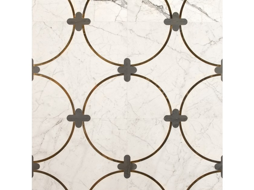 Bianco Carrara, slate and brass floor/wall tiles MEDINA by Palazzo Morelli