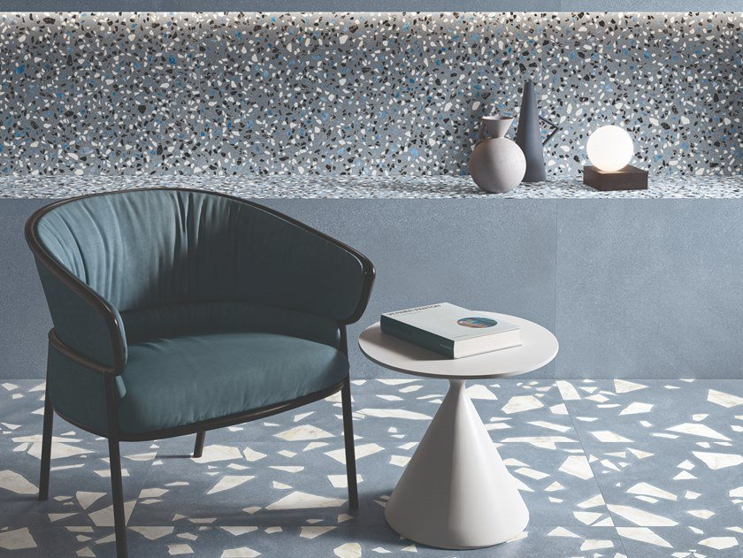 Porcelain stoneware wall/floor tiles terrazzo effect MEDLEY BLUE by Ergon by Emilgroup
