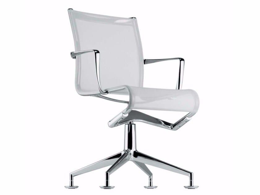 Chaise de bureau pivotante en résille avec accoudoirs MEETINGFRAME - 437 by Alias