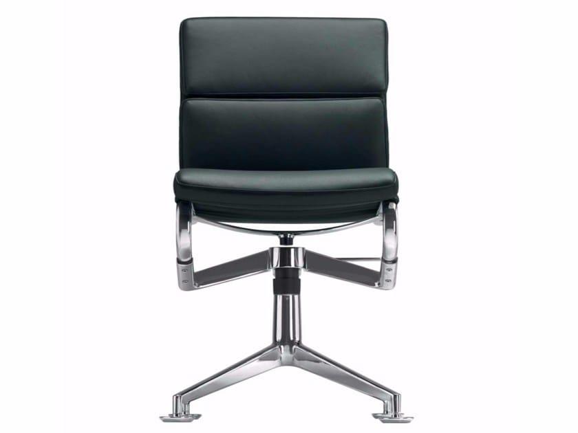 Swivel leather task chair MEETINGFRAME+ TILT SOFT - 428 by Alias