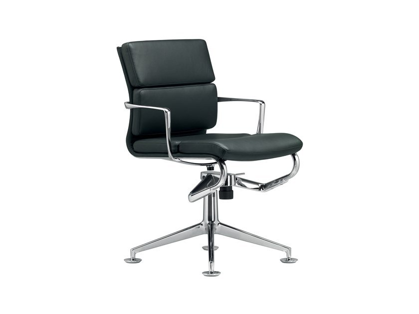Swivel office chair with 4-Spoke base with armrests MEETINGFRAME+ TILT SOFT - 429 by Alias