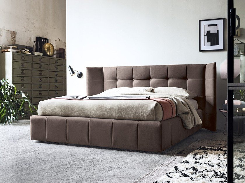 Fabric storage bed with tufted headboard FOSTER by Felis