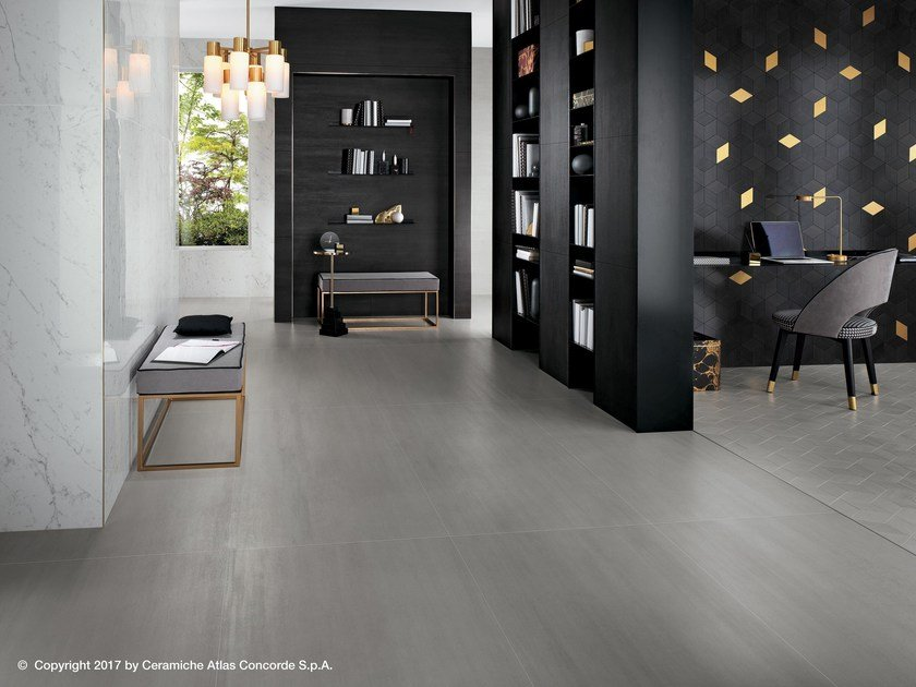 Porcelain stoneware flooring with concrete and metal effect MEK FLOOR by Atlas Concorde
