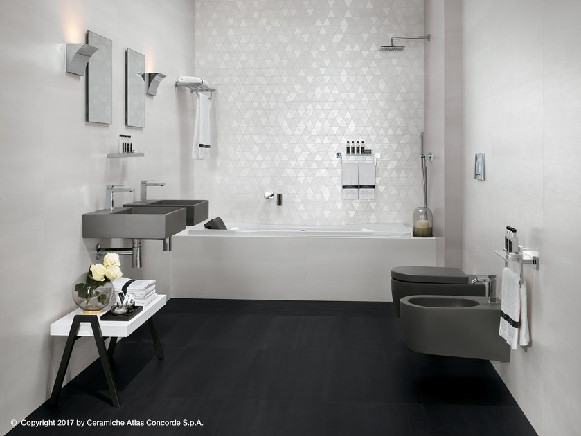White-paste wall tiles with concrete and metal effect MEK WALL | Wall tiles by Atlas Concorde