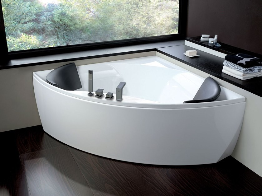 2 seater corner whirlpool bathtub MELI\' By Blu Bleu