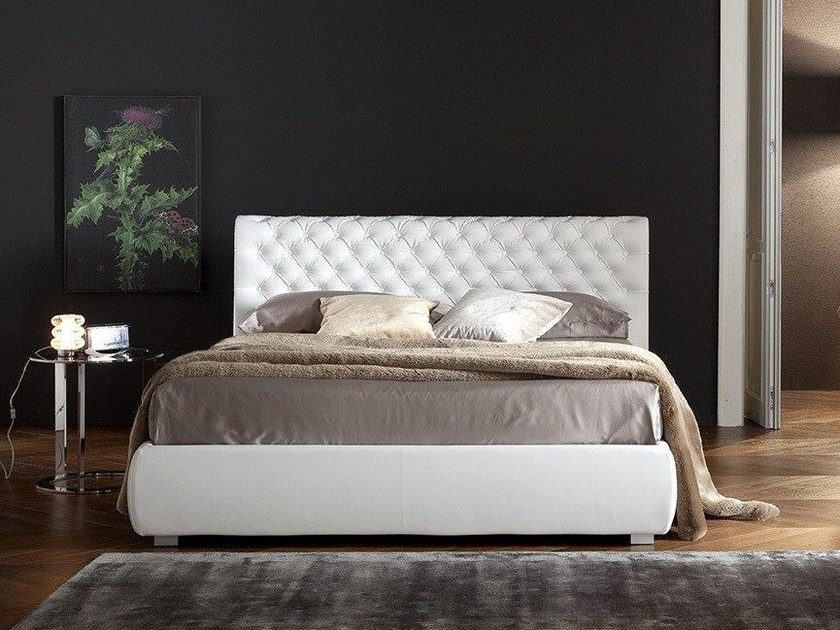 Imitation leather bed with tufted headboard MELISSA by Chaarme