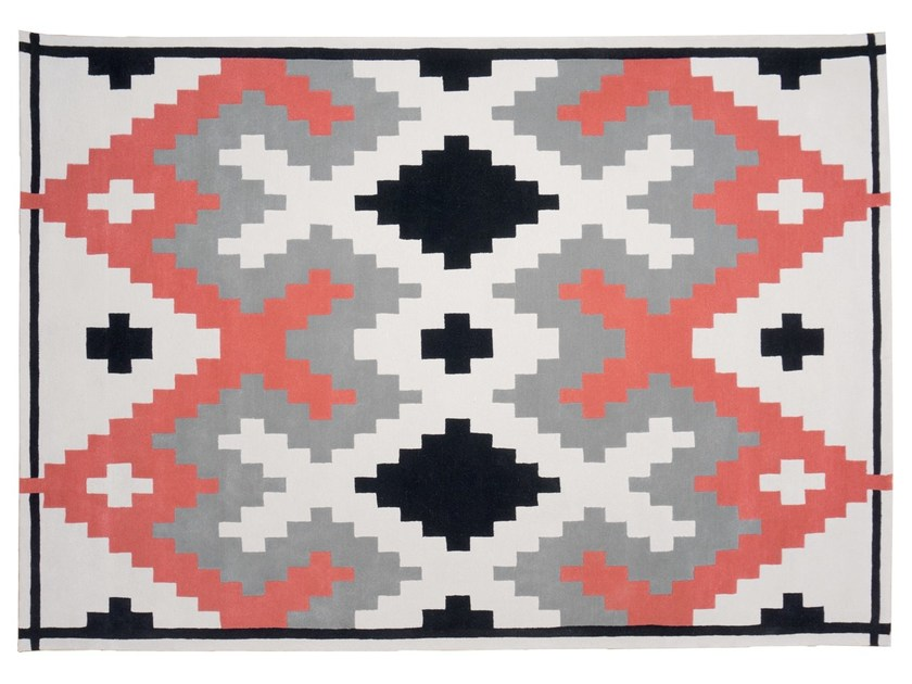 Handmade rectangular wool rug with geometric shapes MELLOW by Dare to Rug